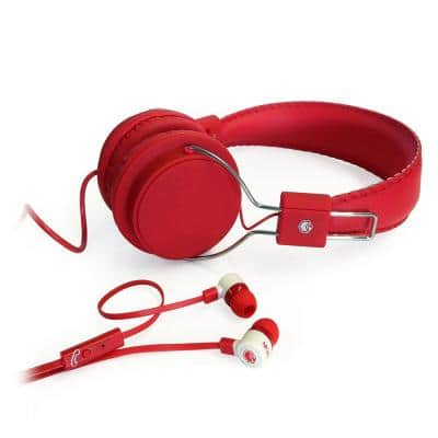2-in-1 Combo Pack Stereo Headphones and Earphones in Red