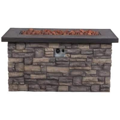 Sevilla Rectangular Outdoor Propane Gas Stone Fire Pit Table with Lava Rock, 48 in. Long