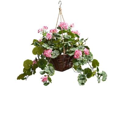 Faux Hot Pink Geranium Flower Arrangement with Hanging Basket