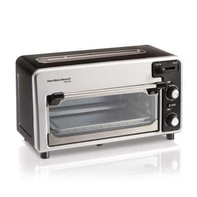 Toastation 1300 W 2-Slice Black and Gray Toaster Oven with Top Toasting Slot