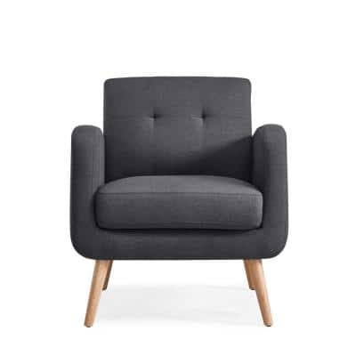 Kingston Charcoal Linen Mid Century Modern Arm Chair