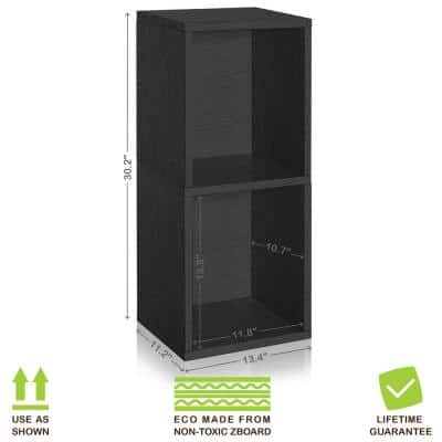 30 in. H x 13 in. W x 11 in. D Black Recycled Materials 2-Cube Storage Organizer