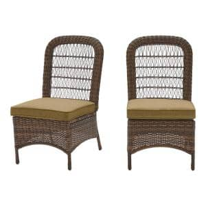 Beacon Park Brown Wicker Outdoor Patio Armless Dining Chair with CushionGuard Toffee Tan Cushions (2-Pack)