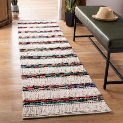 Natura Ivory/Red 2 ft. x 8 ft. Bohemian Striped Runner Rug