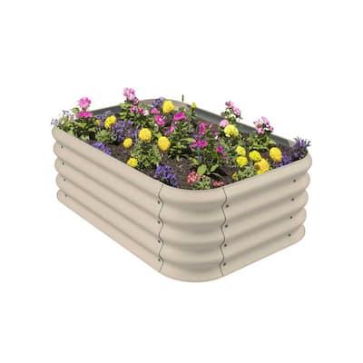 Beige Slate Raised Corrugated Outdoor Decor Modular Plant Garden Bed