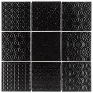 Spirit Black 11-5/8 in. x 11-5/8 in. x 6 mm Porcelain Mosaic Tile (0.94 sq. ft./Each)
