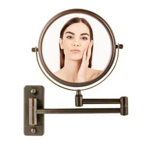 Small Round Wall Mounted Antique Bronze Makeup Mirror (11 in. H x 1.4 in. W), 1x-7x Magnification