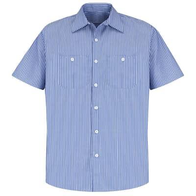 Men's Size L GM Blue / White Stripe Industrial Stripe Work Shirt