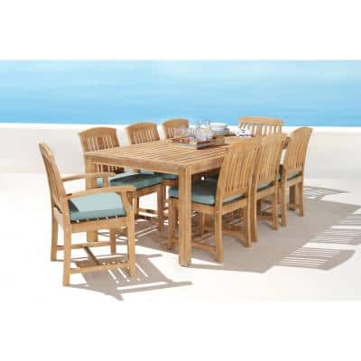 Kooper 9-Piece Wood Outdoor Dining Set with Sunbrella Spa Blue Cushions
