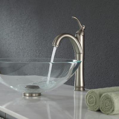 Riviera Single Hole Single-Handle Vessel Bathroom Faucet in Satin Nickel