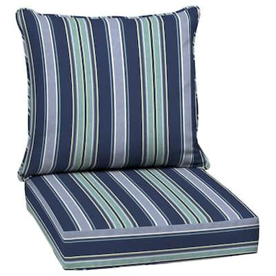 Leala Texture 24 in. x 24 in. 2-Piece Deep Seating Outdoor Lounge Chair Cushion in Sapphire Aurora Stripe