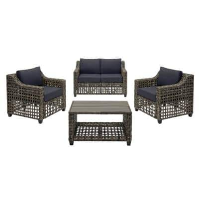 Briar Ridge 4-Piece Brown Wicker Outdoor Patio Conversation Deep Seating Set w/ CushionGuard Midnight Navy Blue Cushions