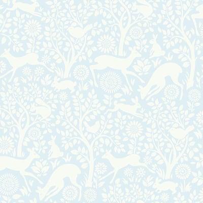Anahi Light Blue Forest Fauna Light Blue Wallpaper Sample