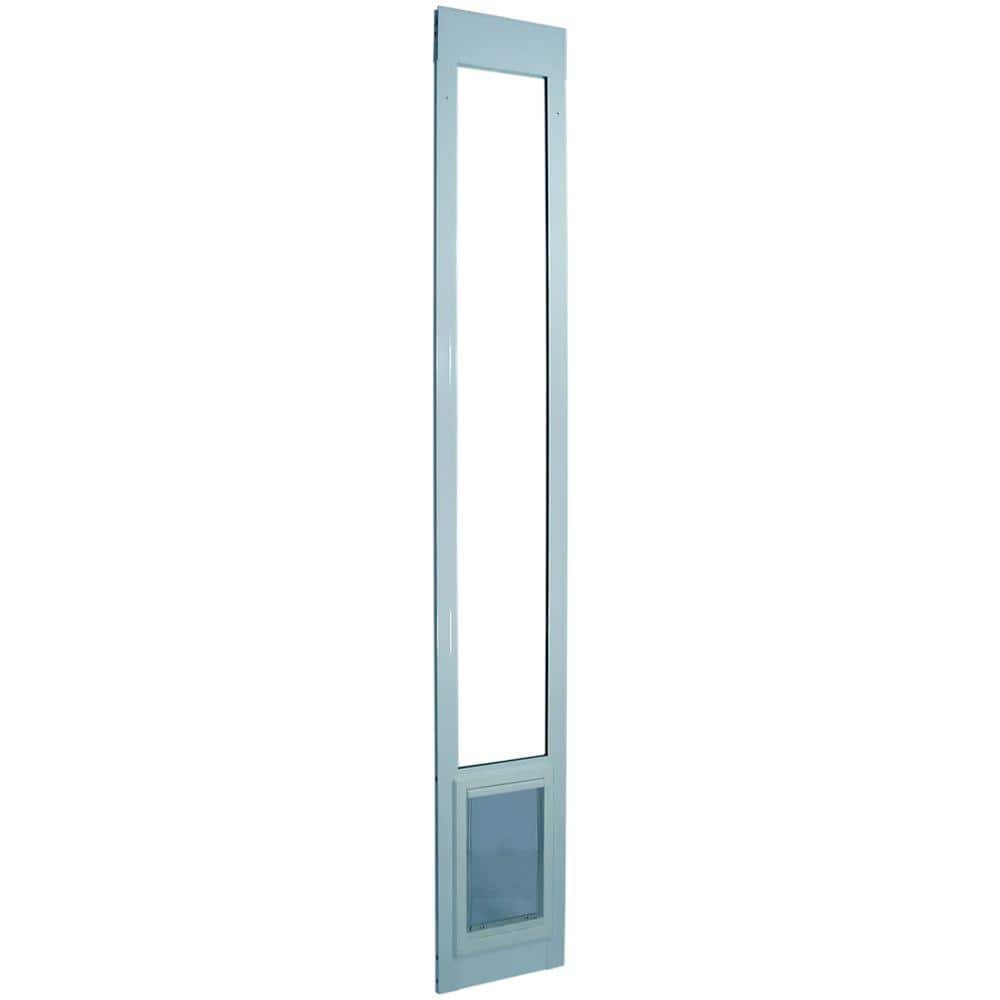 ideal pet 10 5 in x 15 in large white pet dog patio door insert for 75 in to 77 75 in tall aluminum sliding glass door 75patxlw the home depot