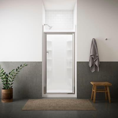 Vista Pivot II 31-1/4 in. x 65-1/2 in. Framed Pivot Shower Door in Silver with Handle