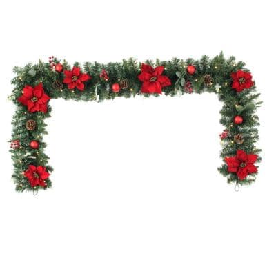 9 ft Berry Bliss Battery Operated Mixed Pine LED Pre-Lit Artificial Christmas Garland with Timer