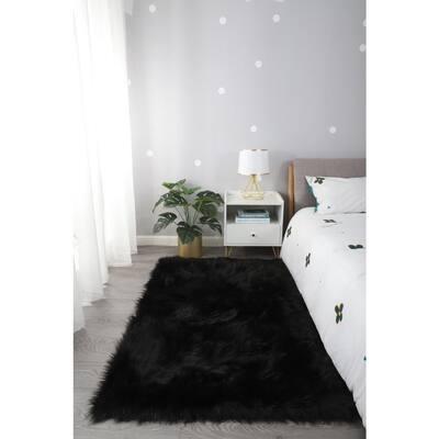 """Cozy Collection"" 4x6 Ultra Soft Black Fluffy Faux Fur Sheepskin Area Rug"