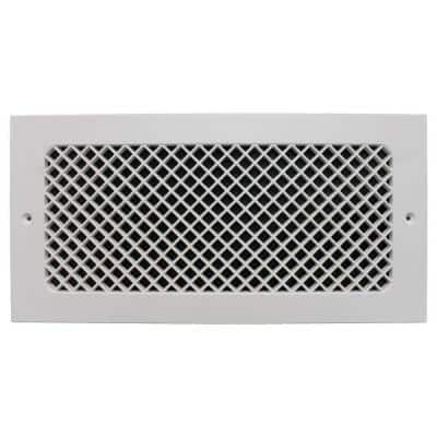 Essex Base Board 14 in. x 6 in. Opening, 8 in. x 16 in. Overall Size, Polymer Resin Decorative Return Air Grille, White