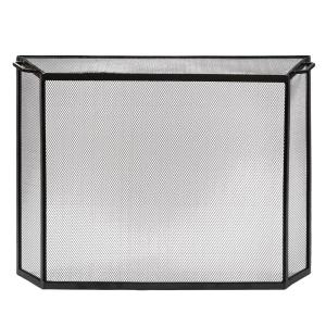 33 in. Tall L 1-Panel Graphite Contemporary Spark Guard Screen with 2 Handles