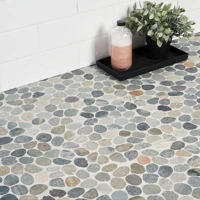Countryside Sliced Round 11.81 in. x 11.81 in. Dark Blend Floor and Wall Mosaic (0.97 sq. ft. / sheet)