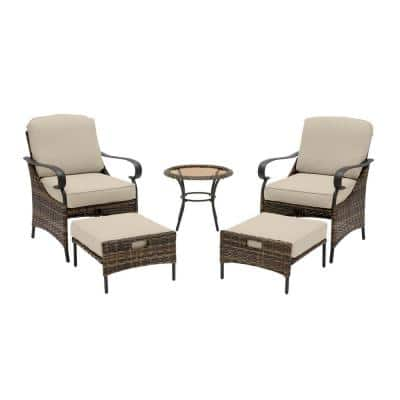 Layton Pointe 5-Piece Brown Wicker Outdoor Patio Conversation Seating Set with CushionGuard Putty Tan Cushions