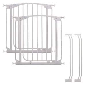 Chelsea 29.5 in. H Standard Height Auto-Close Security Gate in White Value Pack with 2 Gates and 2 Extensions