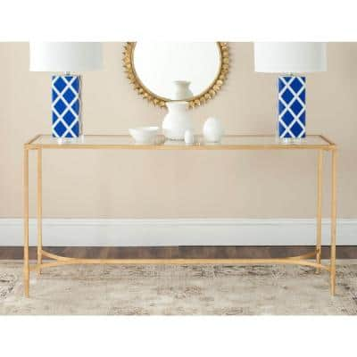 Antwan 63 in. Gold Standard Rectangle Tempered Glass Console Table