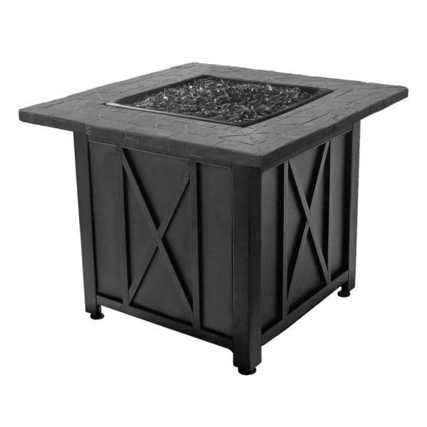 Blue Rhino - Endless Summer Outdoor Propane Gas Black Lava Rock Patio Fire Pit