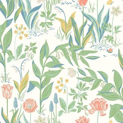 Spring Garden Off-White Botanical Off-White Wallpaper Sample