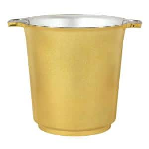 8.5 in. H x 8 in. Dia Gold Plastic Ice Bucket (2-Pack)