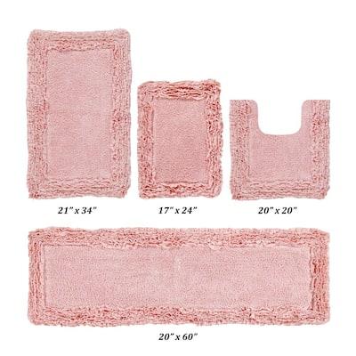 Shaggy Border Collection 4 Piece Pink 100% Cotton Bath Rug Set