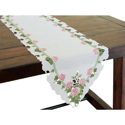 Summer Rose 15 in. x 54 in. Multi Embroidered Cutwork Table Runner