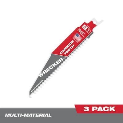 6 in. 6 Teeth per Inch WRECKER Carbide Teeth Multi-Material Cutting SAWZALL Reciprocating Saw Blades (3-Pack)