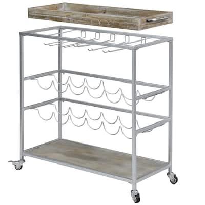 32.5 x 13 x 30 in Rectangular Metal Silver Concord Farmhouse Removable Tray Bar Cart