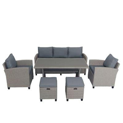 Kevin 6-Pieces Outdoor Rattan Wicker Set Patio Garden Backyard Table Sofa Set with Gray Cushions