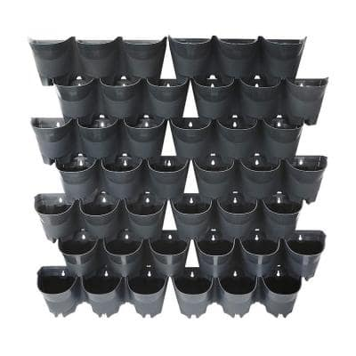42-Pocket Plastic Self-Watering Vertical Wall-Garden Planters (14 Sets of 3) in Gray Color