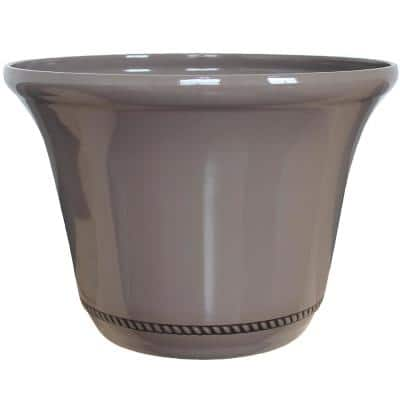 Westbourne Flange 22 in. x 15.75 in. Saddle Brown High-Density Resin Planter