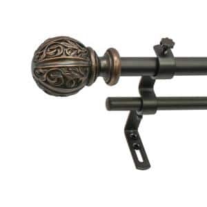 48 in. - 86 in. Double Curtain Rod in Vintage Bronze with Leaf Ball Finial