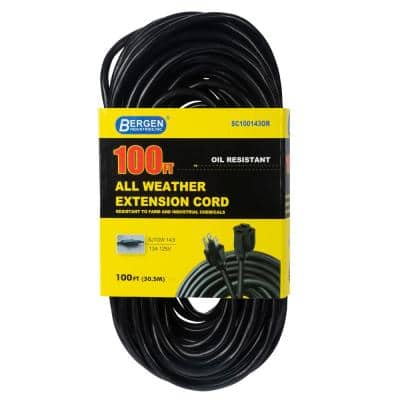 100 ft. 14/3 SJTOW 15 Amp/125-Volt All Weather Farm and Shop Extension Cord, Black