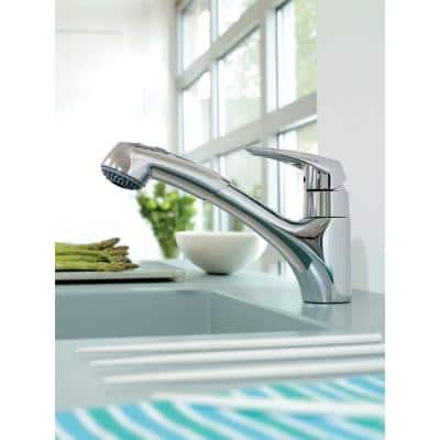 Eurodisc Single-Handle Pull-Out Sprayer Kitchen Faucet in Chrome