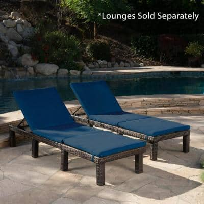 Caesar Blue Outdoor Chaise Lounge Cushion (2-Pack)