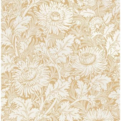 Zinnia Mustard Floral Paper Strippable Roll (Covers 56.4 sq. ft.)