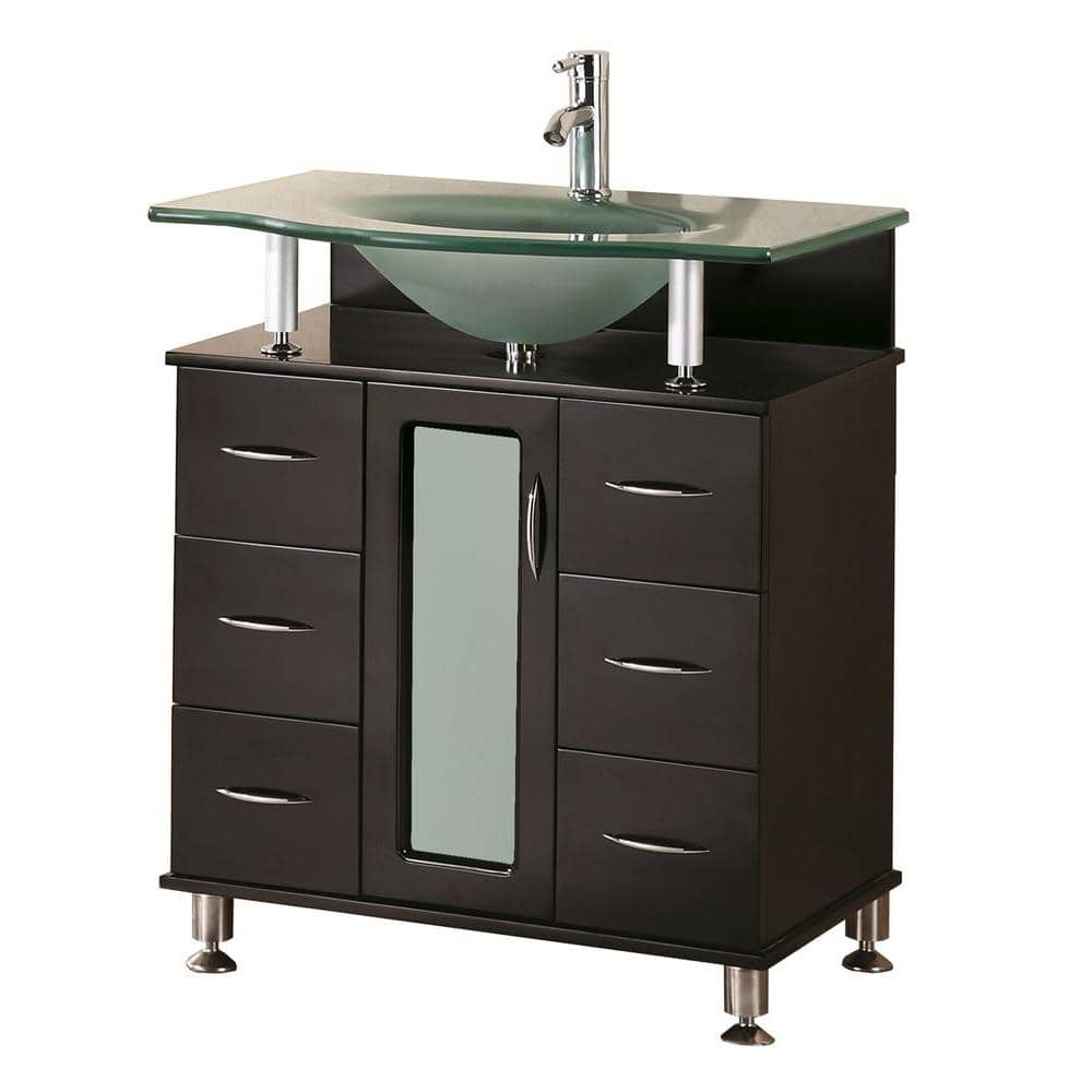 Design Element Huntington 30 In W X 22 In D Vanity In Espresso With Glass Vanity Top In Aqua Dec015a The Home Depot