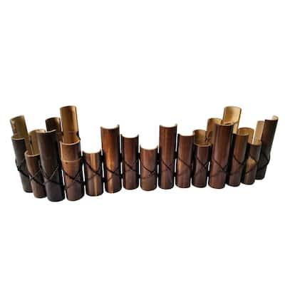 12 in., 10 in., 8 in. H x 72 in. L Picket Style Split Natural Black Bamboo Edging