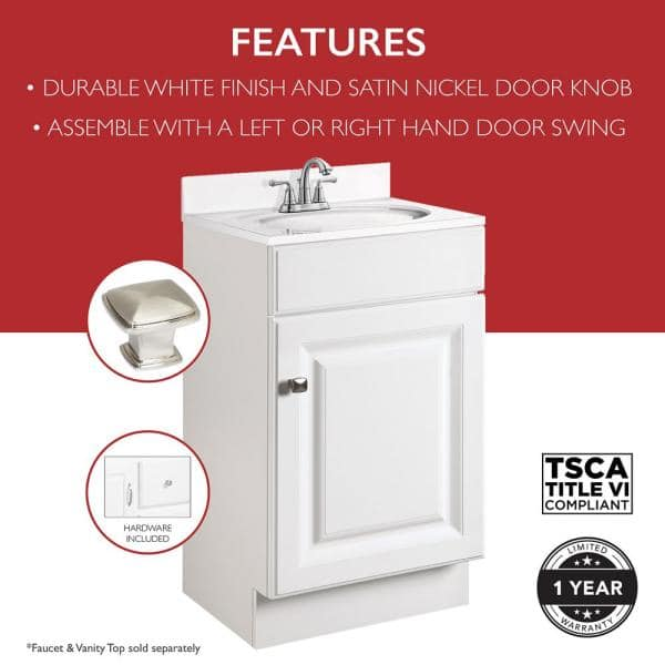 Design House Wyndham 18 In Rta 1 Door Bath Vanity Cabinet Only In White 597112 The Home Depot