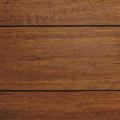 Strand Woven Distressed Dark Honey 1/2 in. T x Multi Width x 72 in. L Engineered Click Bamboo Flooring