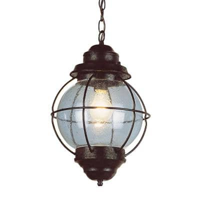 Catalina 10 in. 1-Light Rustic Bronze Outdoor Pendant Light with Seeded Glass