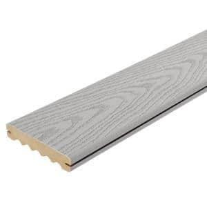 1 in. x 6 in. x 16 ft. Gray Grooved Edge Capped Composite Decking Board