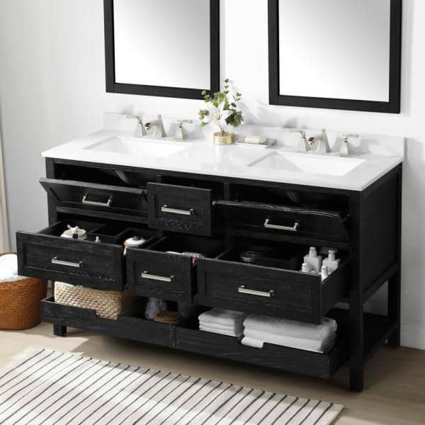 Martha Stewart Living Hillcrest 60 In Bath Vanity With Cultured Marble Top White Basins 15vva Hill60 11 The Home Depot