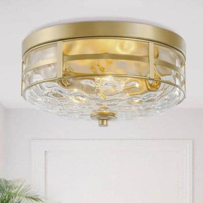 Cumax 3-Light Round Gold Metal Farmhouse Modern Flush Mount Lights with Water Glass Shape